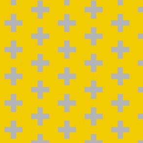 Grey Swiss Cross on Mustard