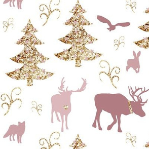 winter woodland gold pink