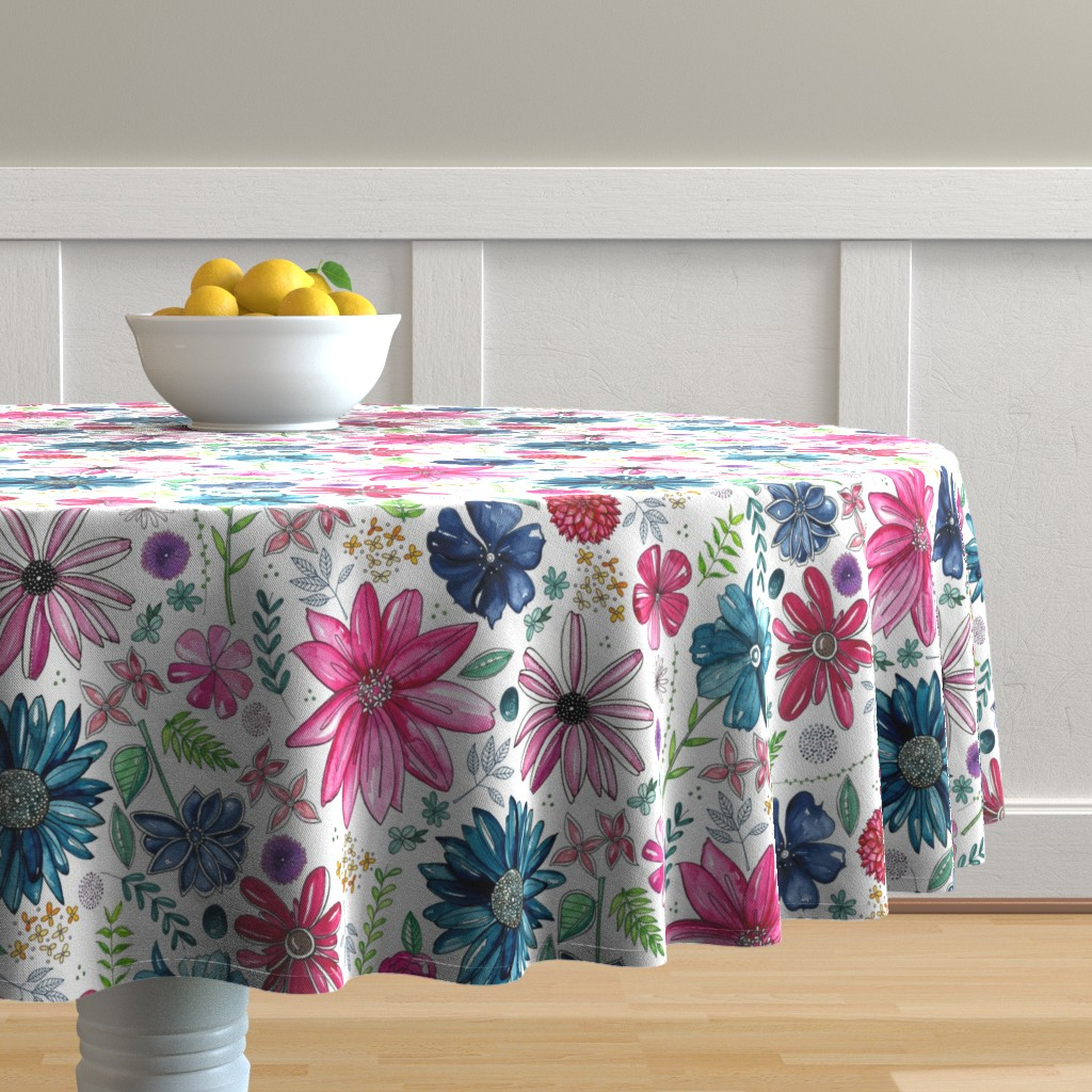 Malay Round Tablecloth featuring Botanical Sketchbook by kathryncole