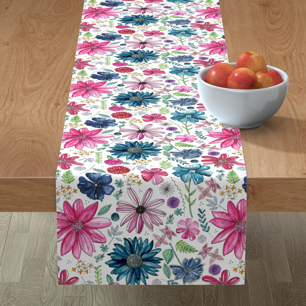 Minorca Table Runner featuring Botanical Sketchbook by kathryncole