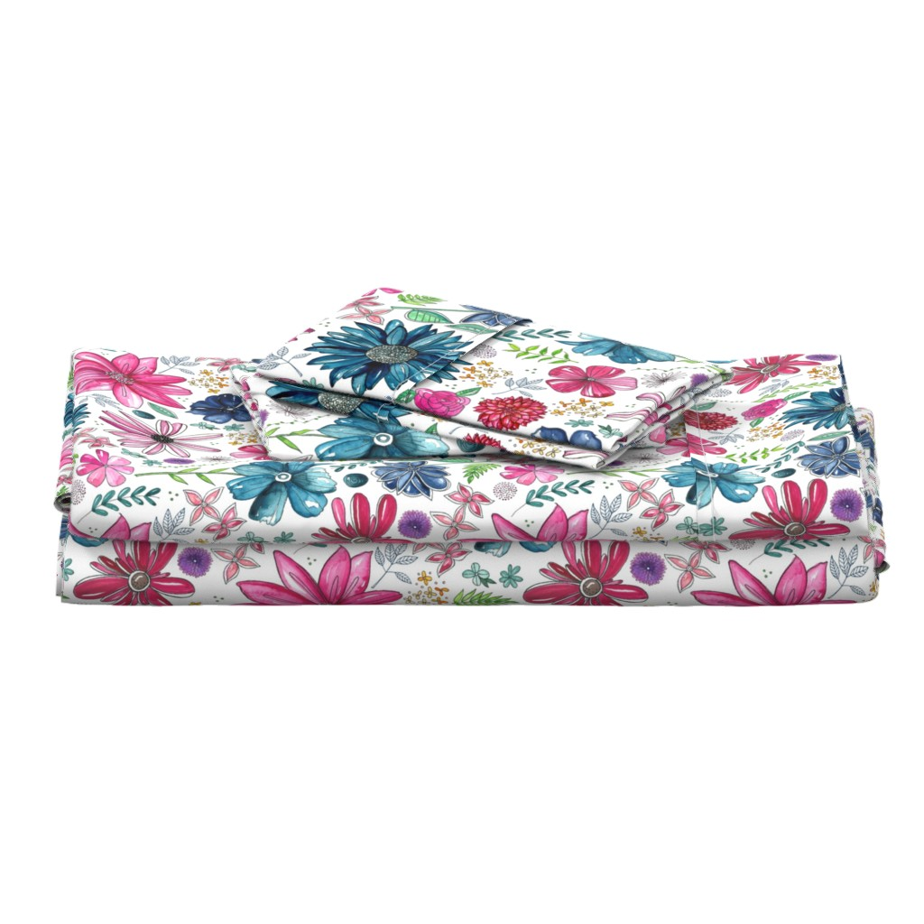 Langshan Full Bed Set featuring Botanical Sketchbook by kathryncole