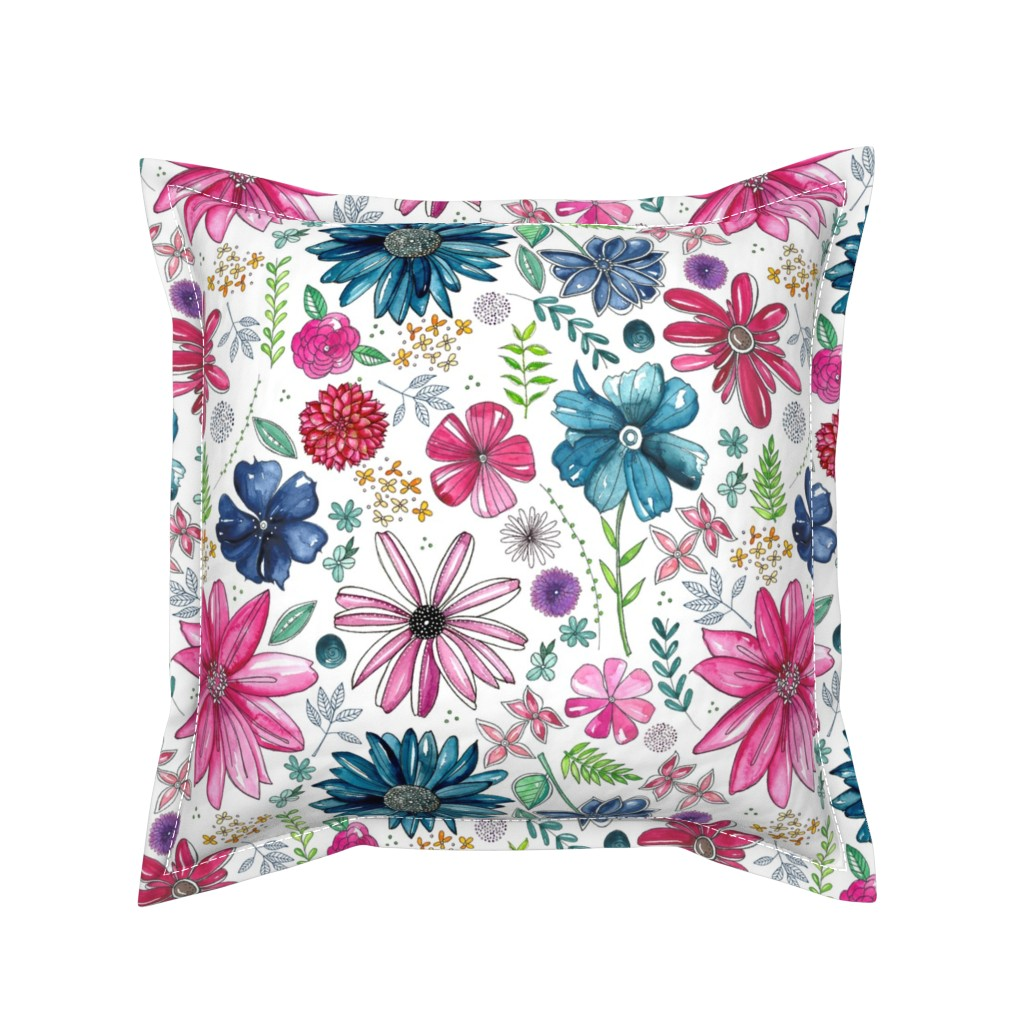 Serama Throw Pillow featuring Botanical Sketchbook by kathryncole