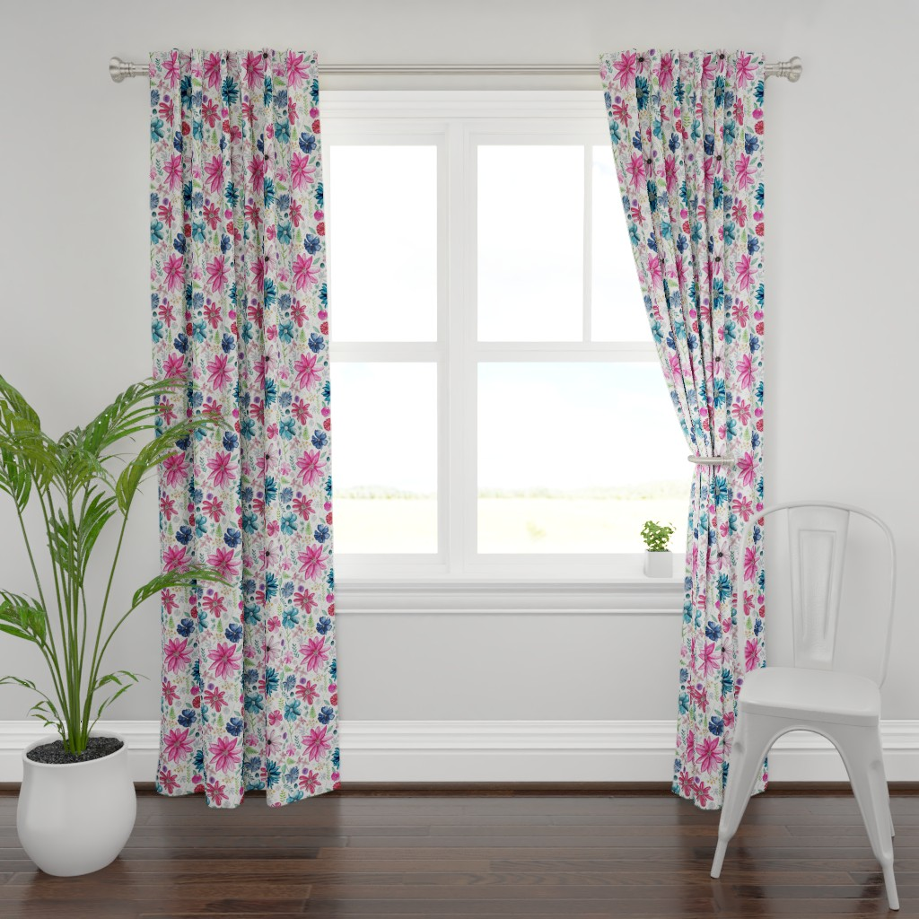 Plymouth Curtain Panel featuring Botanical Sketchbook by kathryncole