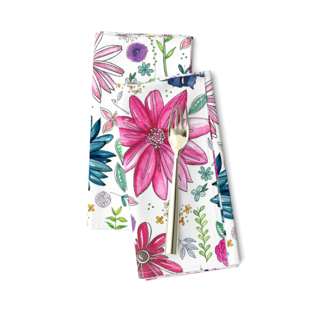 Amarela Dinner Napkins featuring Botanical Sketchbook by kathryncole