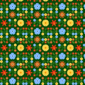 garden flowers on green