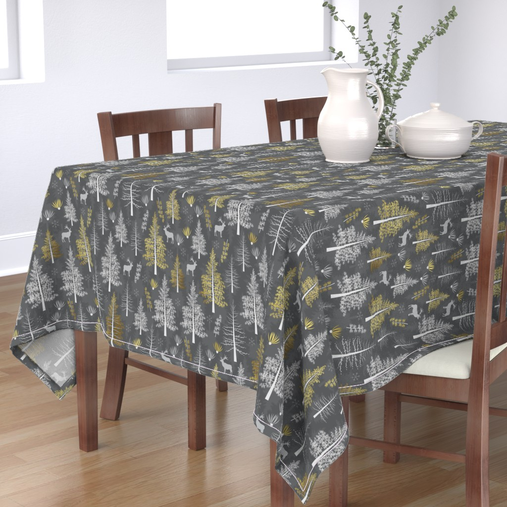 Bantam Rectangular Tablecloth featuring The Golden Tamarack - Large scale by papercanoefabricshop