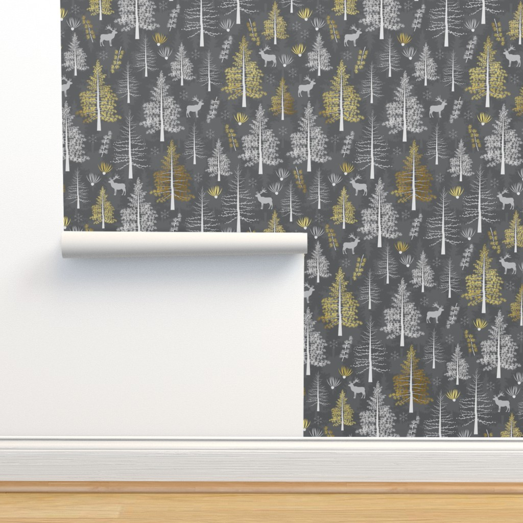 Isobar Durable Wallpaper featuring The Golden Tamarack - Large scale by papercanoefabricshop