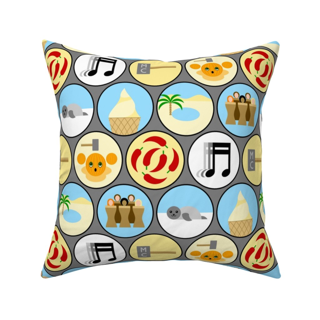 Catalan Throw Pillow featuring 04517895 : © 90s pop disc guessing game by sef