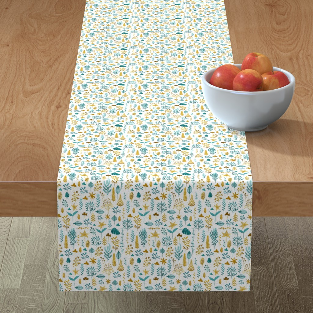 Minorca Table Runner featuring Ocre Teal leaves by nathalieouederni