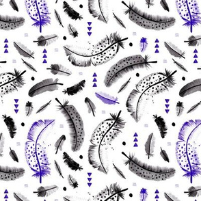 Geometric watercolor feathers in black white and pink scandinavian style illustration design blue
