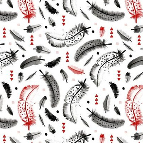 Geometric watercolor feathers in black white and pink scandinavian style illustration design red fall colors