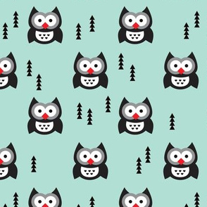 Adorable christmas owls and geometric christmas tree arrows holiday woodland illustration print