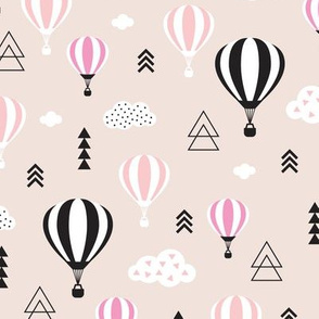 Scandinavian pastels and black and white hot air balloons and geometric clouds sky illustration pattern