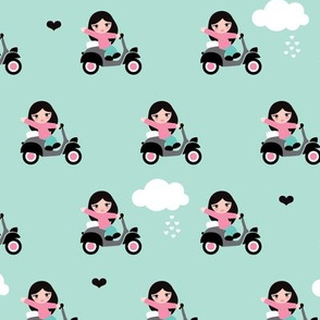 Cute little girls driving Italian Vespa scooter fun clouds kids print