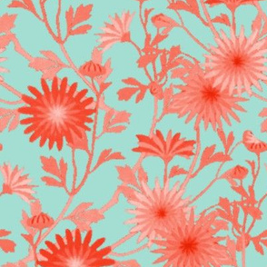 Springing Floral ~ Mint and Coral
