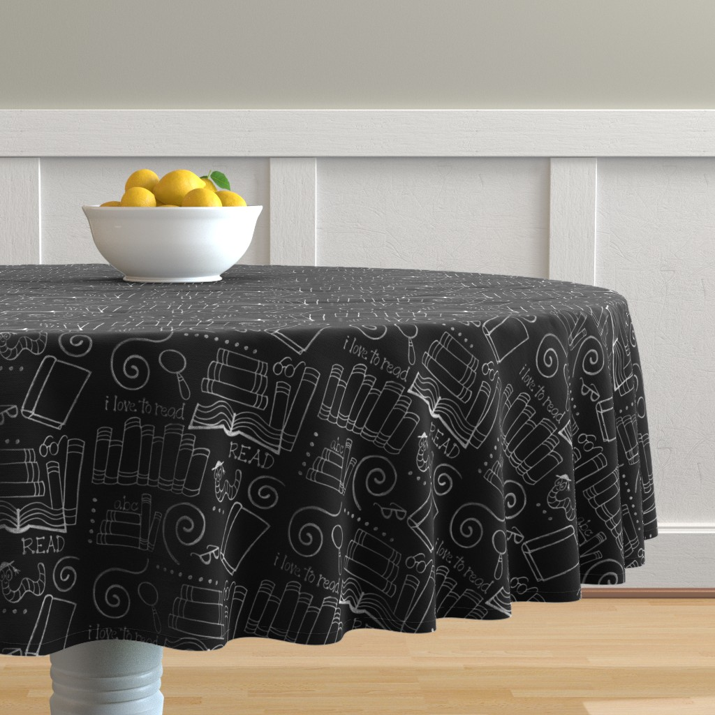 Malay Round Tablecloth featuring I love to READ!! by designergal
