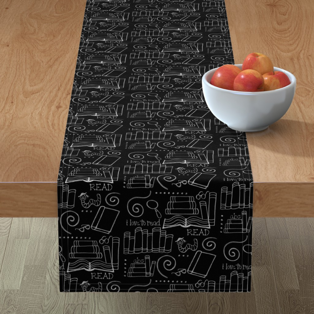 Minorca Table Runner featuring I love to READ!! by designergal