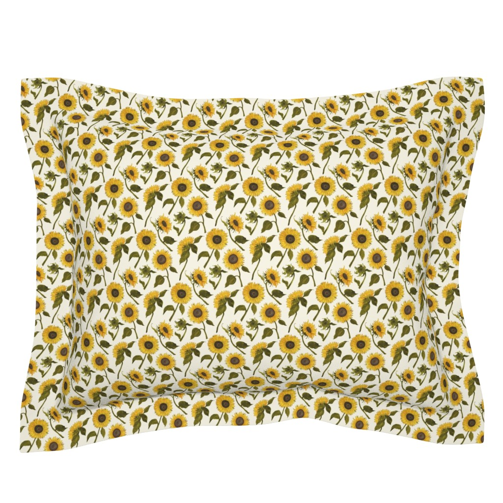 Sebright Pillow Sham featuring Sunflower by angelastevens