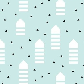 Abstract geometric arrows and triangles scandinavian style pastel blue design