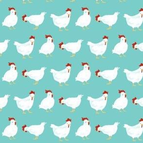 Watercolor Chickens-Aqua