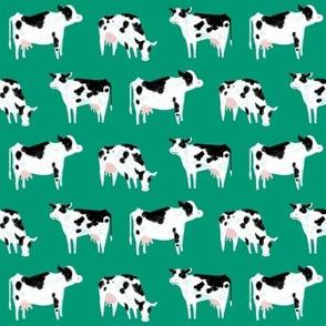Watercolor Cows-Green