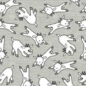 Ditsy white goats