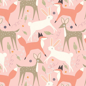 Forest Animal Fun Pink