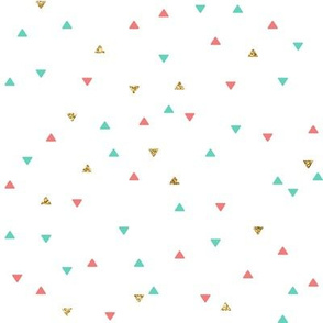 Mint Coral Gold Glitter Triangle Scatter