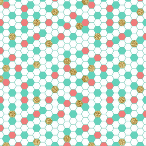 Mint Coral Gold Glitter Hexagon Scatter