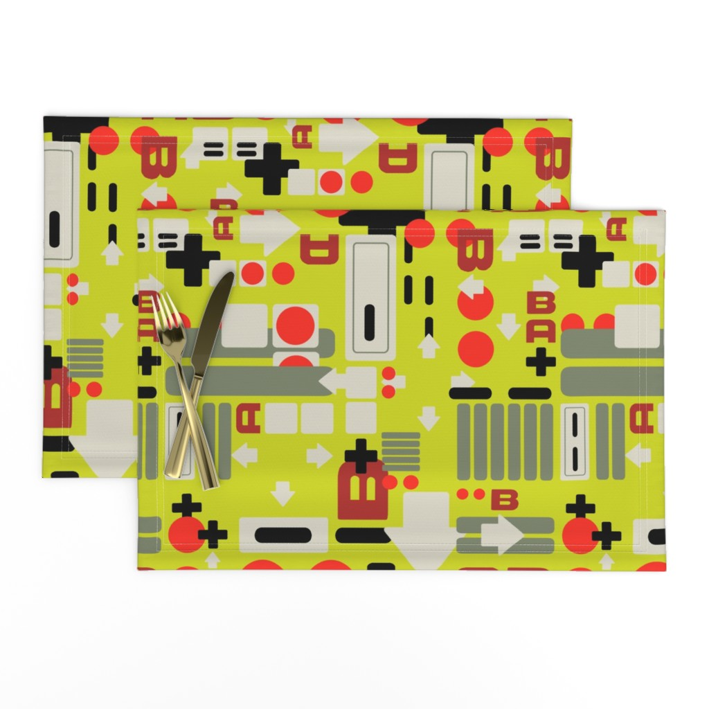 Lamona Cloth Placemats featuring Controller breakdown yellow by lburleighdesigns