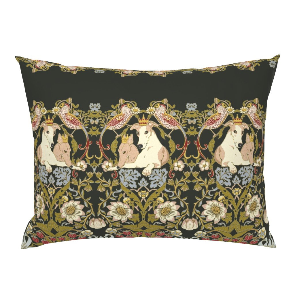 Campine Pillow Sham featuring Whippet Border by iizzard