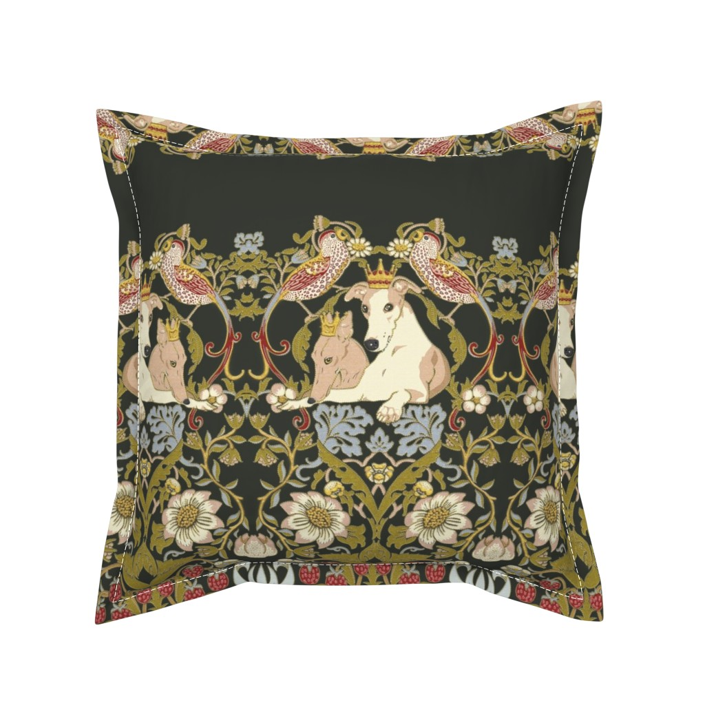 Serama Throw Pillow featuring Whippet Border by iizzard