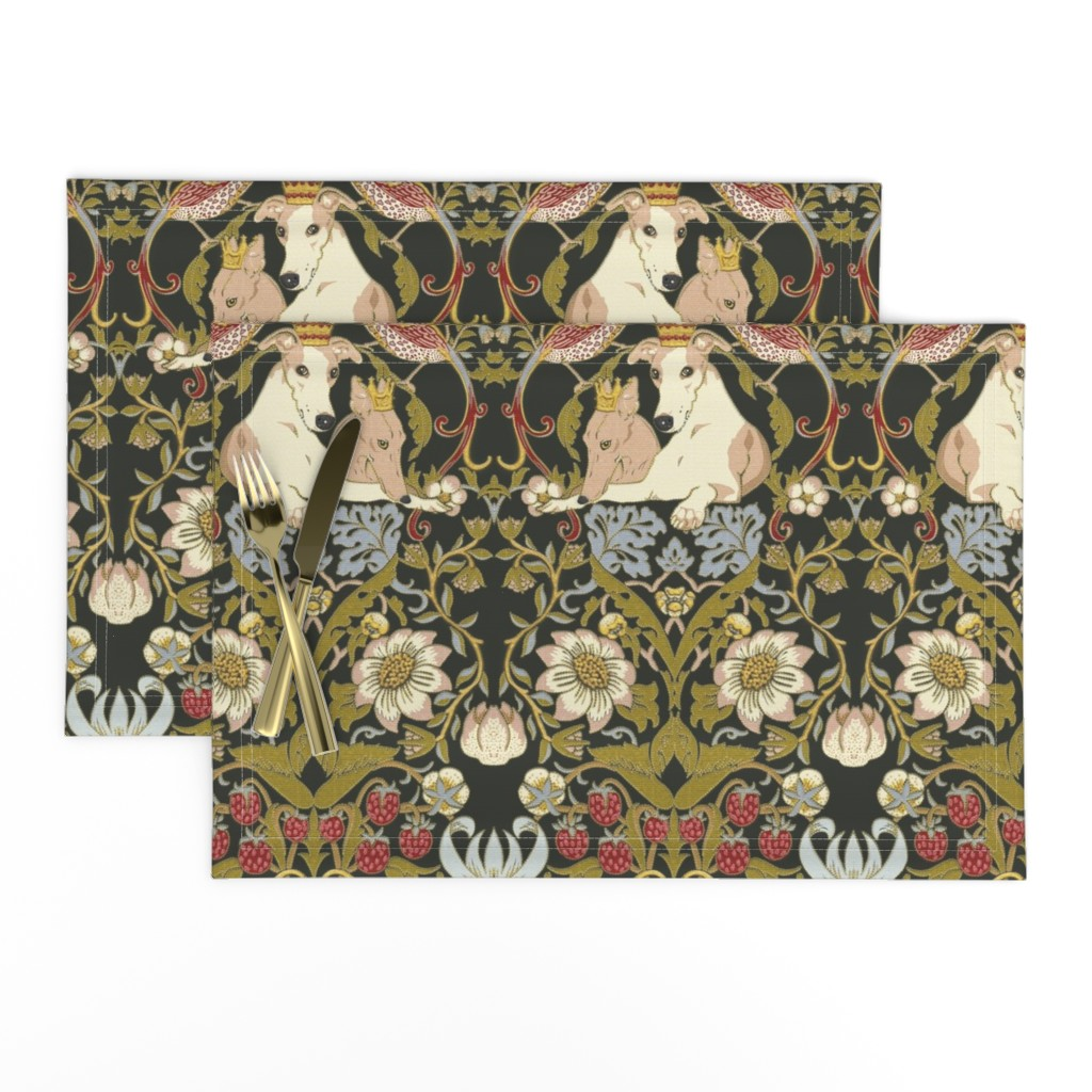 Lamona Cloth Placemats featuring Whippet Border by iizzard