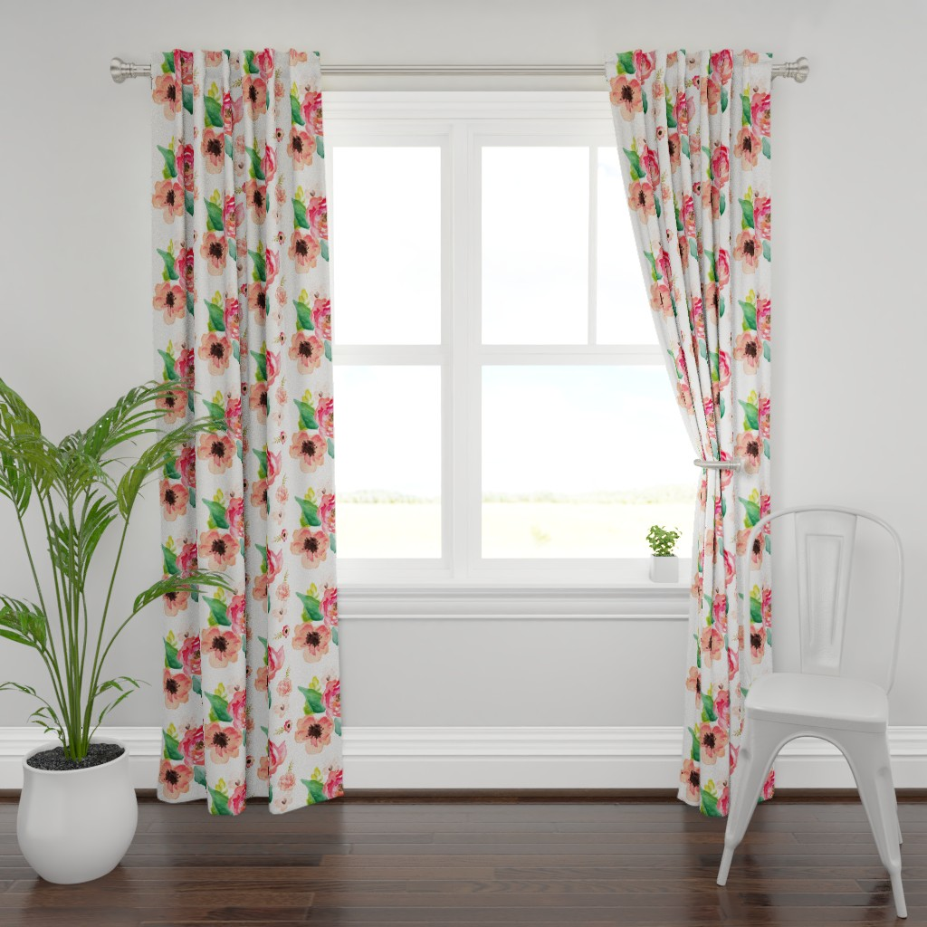 """Plymouth Curtain Panel featuring 14"""" Floral Dreams White  by shopcabin"""
