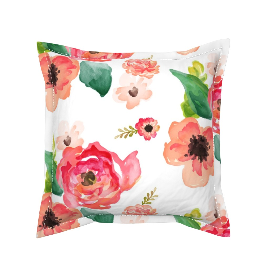 "Serama Throw Pillow featuring 14"" Floral Dreams White  by shopcabin"
