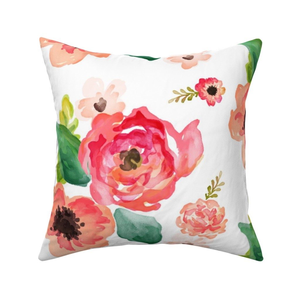 """Catalan Throw Pillow featuring 14"""" Floral Dreams White  by shopcabin"""