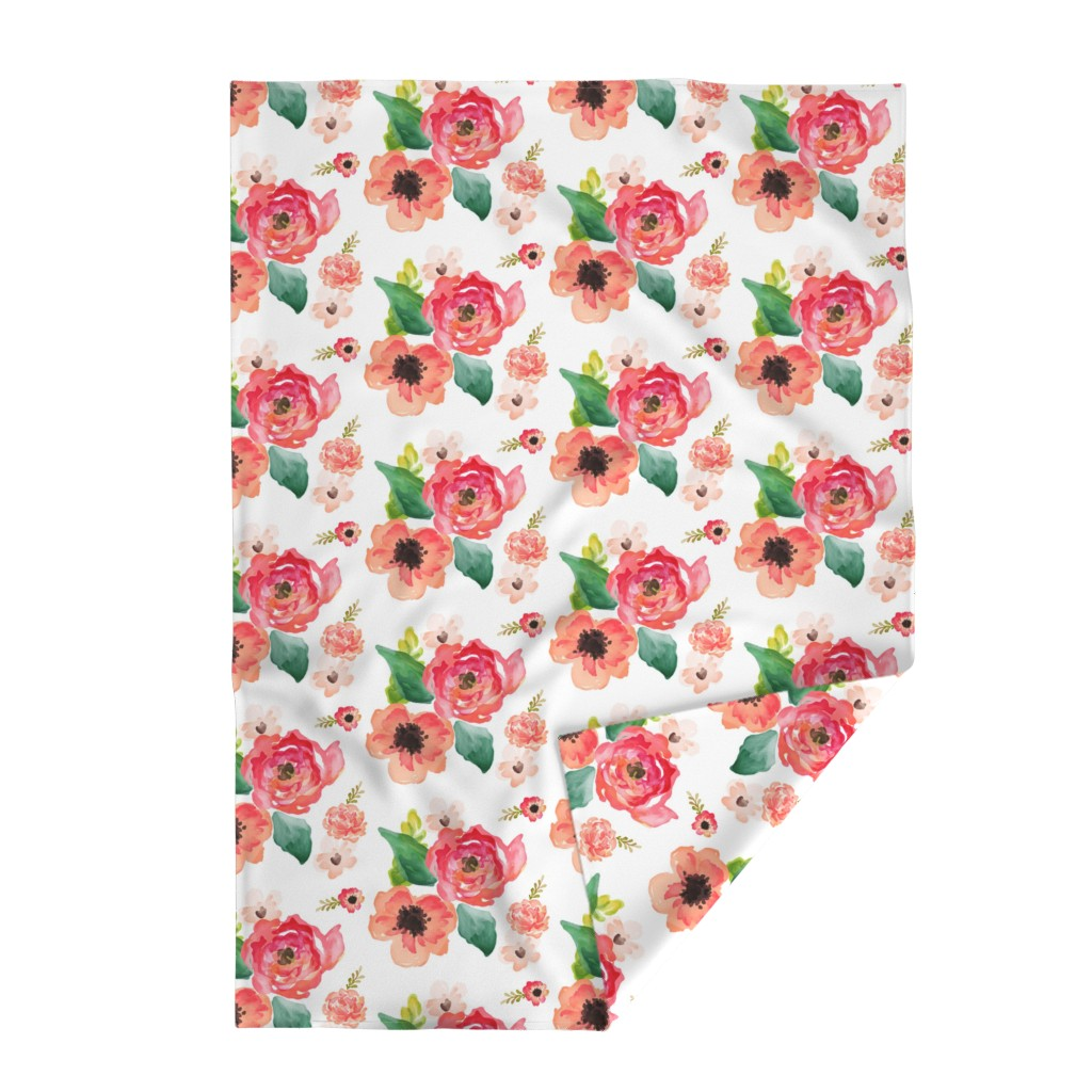 """Lakenvelder Throw Blanket featuring 14"""" Floral Dreams White  by shopcabin"""