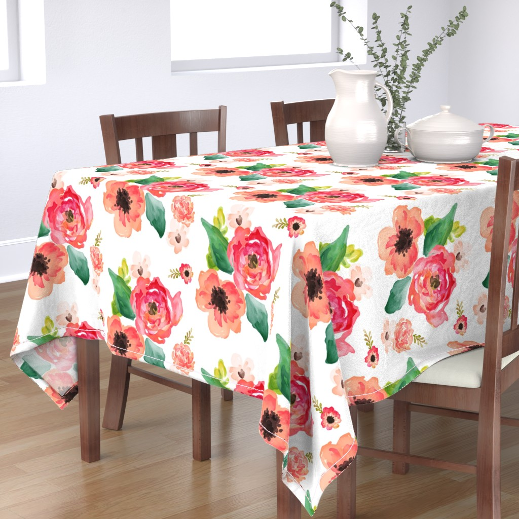 """Bantam Rectangular Tablecloth featuring 14"""" Floral Dreams White  by shopcabin"""