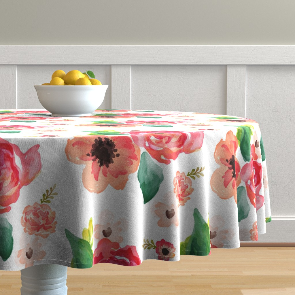 "Malay Round Tablecloth featuring 14"" Floral Dreams White  by shopcabin"