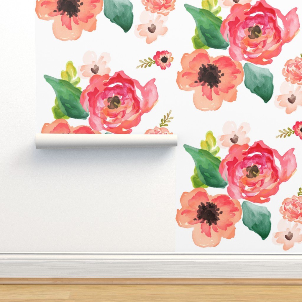 "Isobar Durable Wallpaper featuring 14"" Floral Dreams White  by shopcabin"