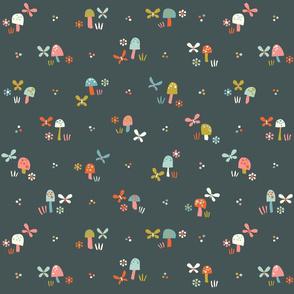 butterflies and mushrooms // by petite_circus // cute kids baby nursery //