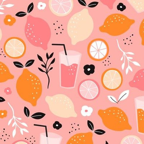 Hot summer oranges and lemon fruit colorful lemonade illustration kitchen food print in pink