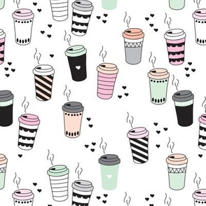 Coffee love never too hot for coffee take away cups illustration for addicts in black white mint and pink