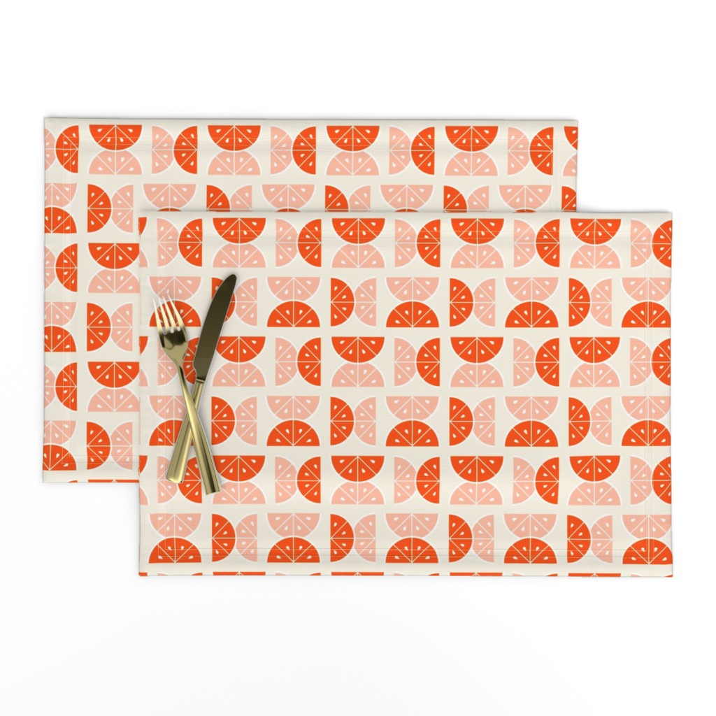 Lamona Cloth Placemats featuring Citrus Squeeze, Ivory Cream by pearl&phire