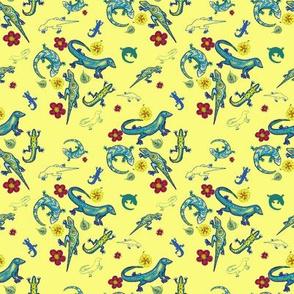 Ditsy Lizards Yellow