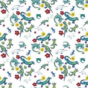Ditsy Lizards White