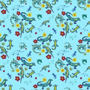 Ditsy Lizards Blue