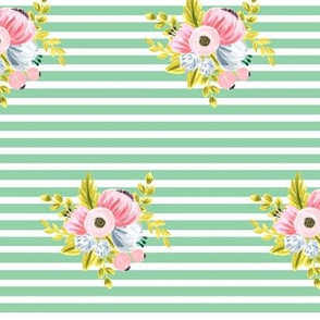 Horizontal stripe floral - light green small