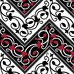 Chevron in Black, Red and White