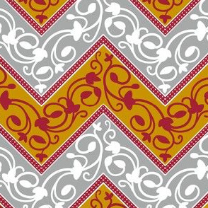 Chevron in Red, Gold, and Grey